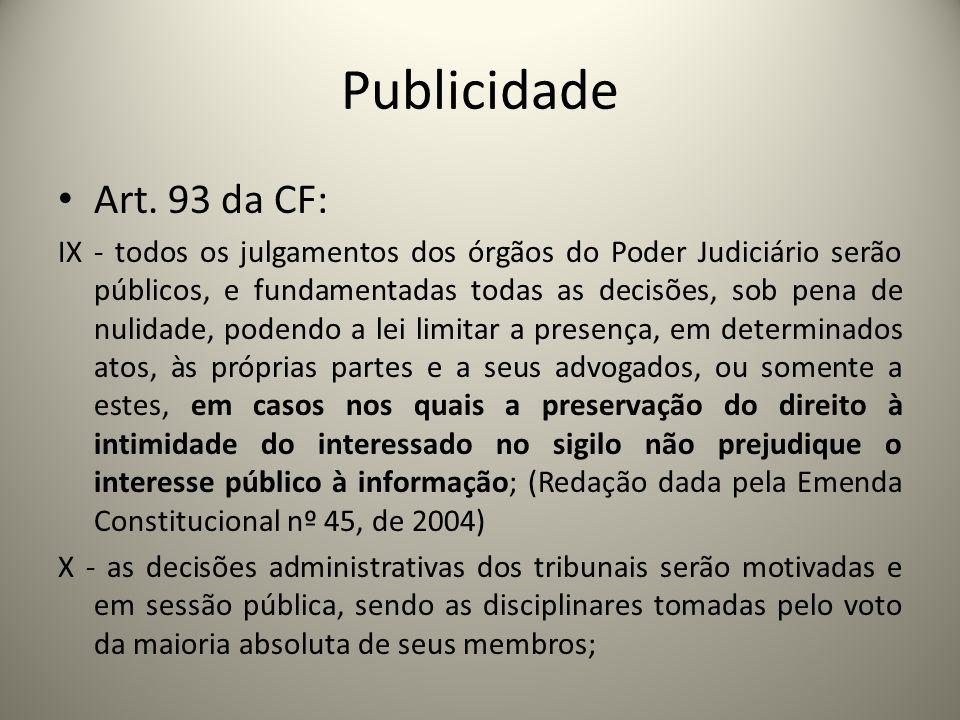 PublicidadeArt. 93 da CF: