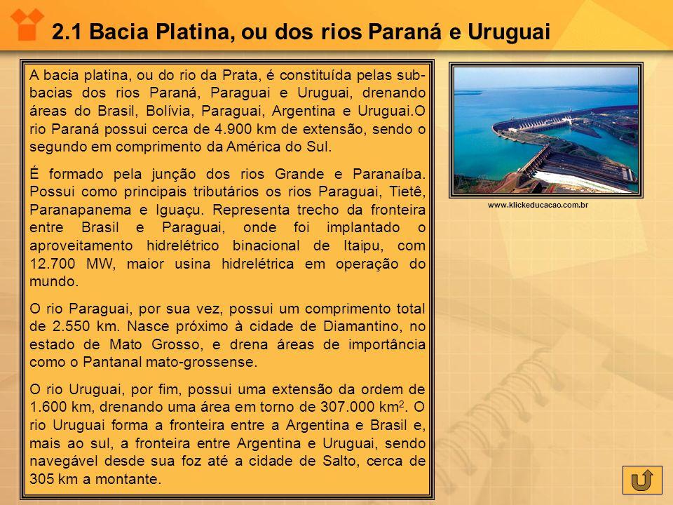 2.1 Bacia Platina, ou dos rios Paraná e Uruguai