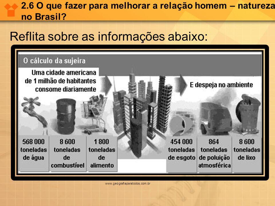 2.6 O que fazer para melhorar a relação homem – natureza no Brasil