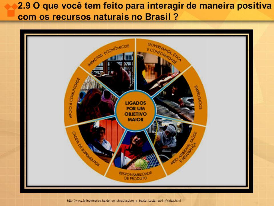 2.9 O que você tem feito para interagir de maneira positiva com os recursos naturais no Brasil