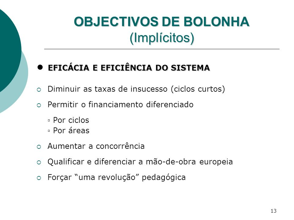 OBJECTIVOS DE BOLONHA (Implícitos)