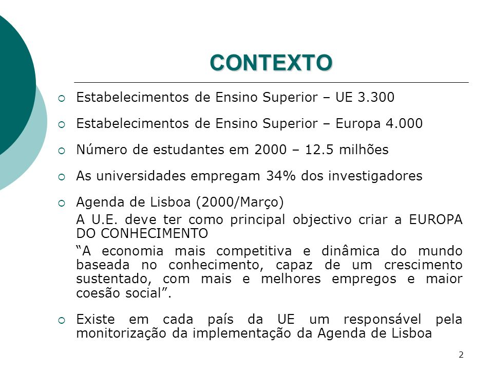 CONTEXTO Estabelecimentos de Ensino Superior – UE 3.300