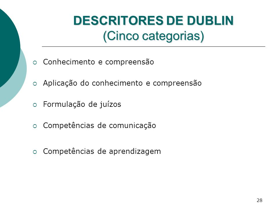 DESCRITORES DE DUBLIN (Cinco categorias)