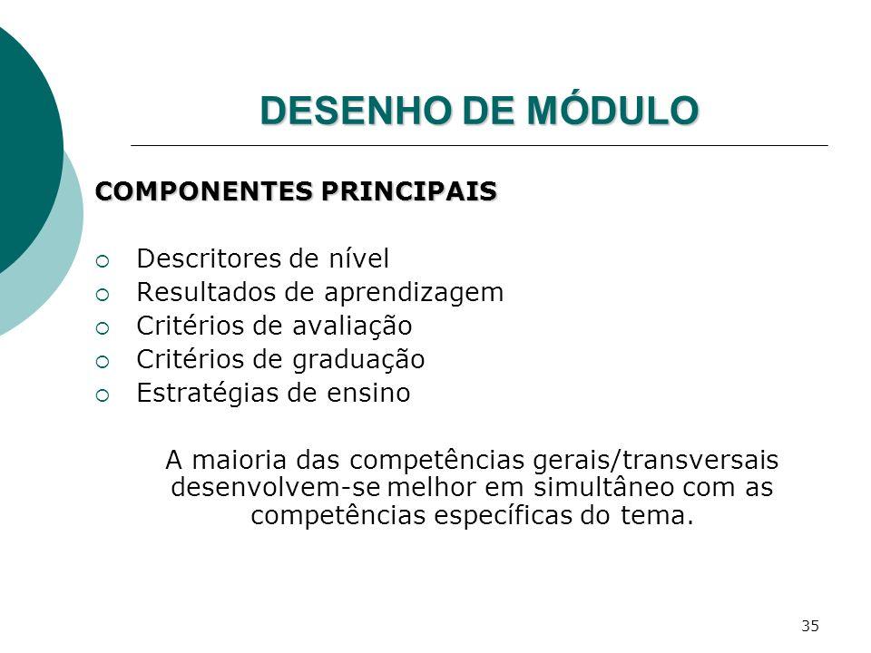 DESENHO DE MÓDULO COMPONENTES PRINCIPAIS Descritores de nível