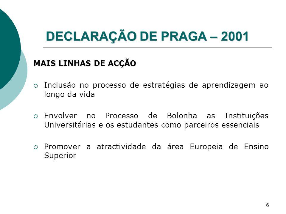 DECLARAÇÃO DE PRAGA – 2001 MAIS LINHAS DE ACÇÃO