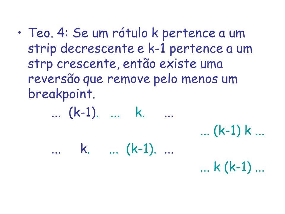 Teo. 4: Se um rótulo k pertence a um strip decrescente e k-1 pertence a um strp crescente, então existe uma reversão que remove pelo menos um breakpoint.