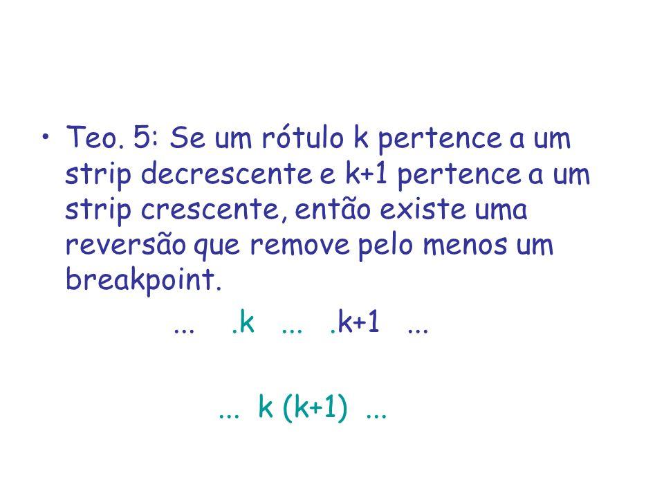 Teo. 5: Se um rótulo k pertence a um strip decrescente e k+1 pertence a um strip crescente, então existe uma reversão que remove pelo menos um breakpoint.