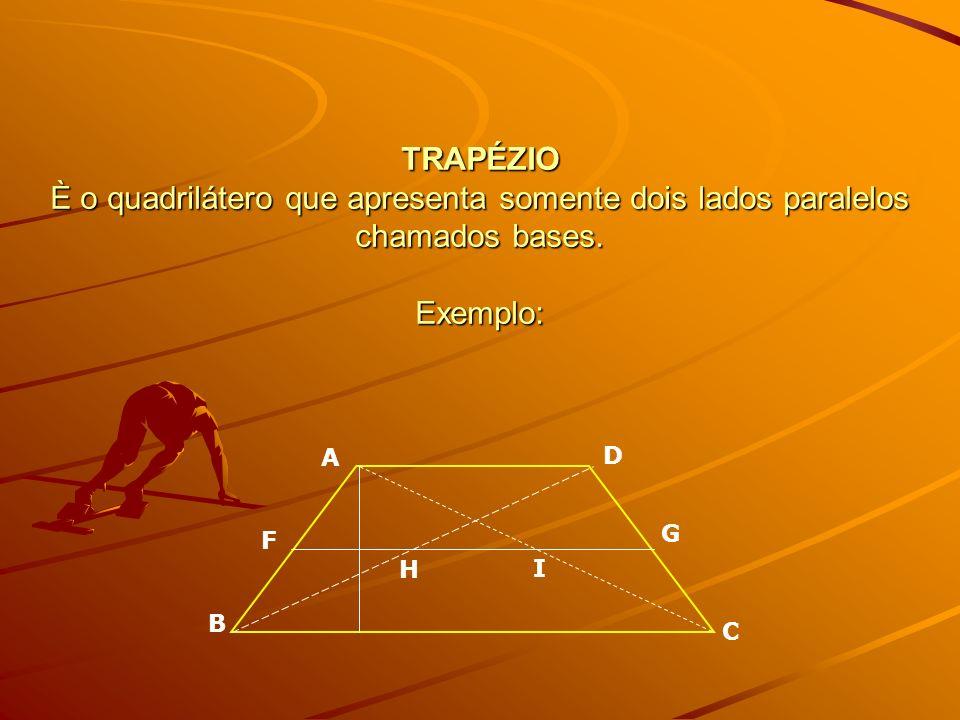 TRAPÉZIO È o quadrilátero que apresenta somente dois lados paralelos chamados bases. Exemplo: