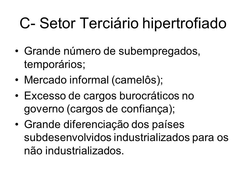 C- Setor Terciário hipertrofiado