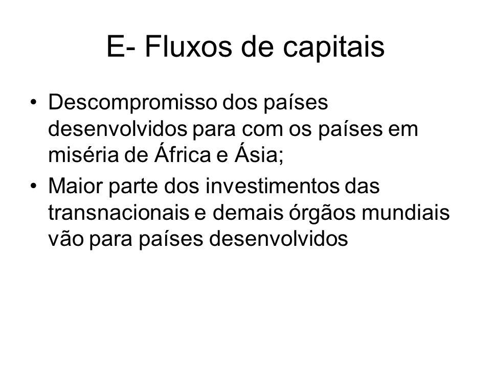 E- Fluxos de capitais Descompromisso dos países desenvolvidos para com os países em miséria de África e Ásia;