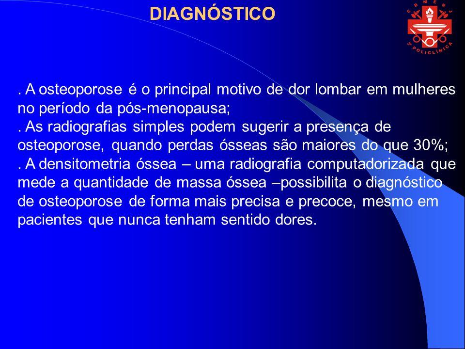 DIAGNÓSTICO . A osteoporose é o principal motivo de dor lombar em mulheres no período da pós-menopausa;
