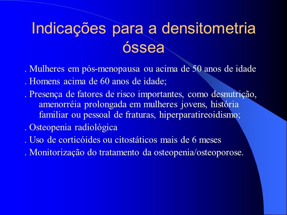 Indicações para a densitometria óssea