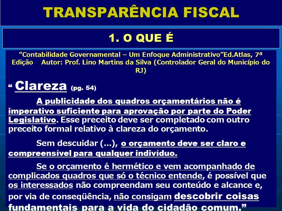 TRANSPARÊNCIA FISCAL 1. O QUE É Clareza (pg. 54)