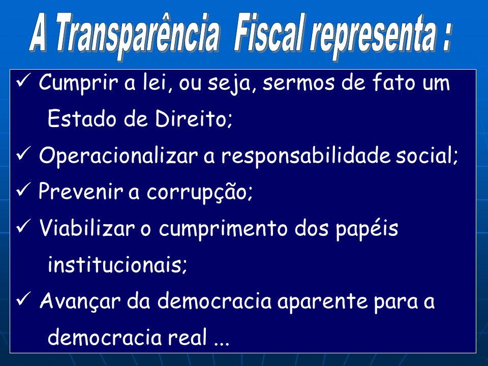 A Transparência Fiscal representa :