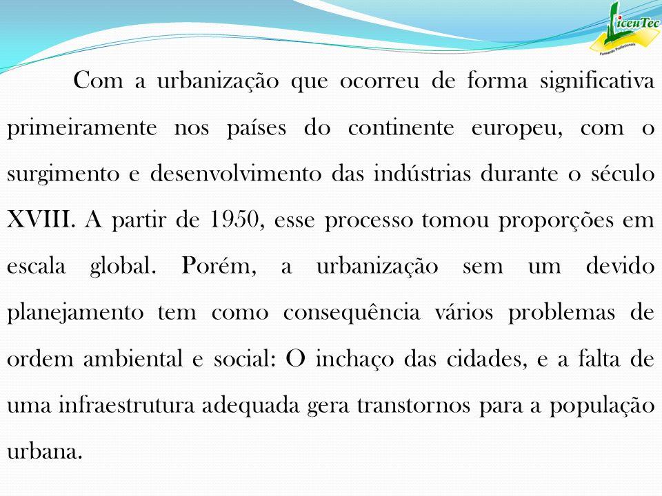 Com a urbanização que ocorreu de forma significativa primeiramente nos países do continente europeu, com o surgimento e desenvolvimento das indústrias durante o século XVIII.