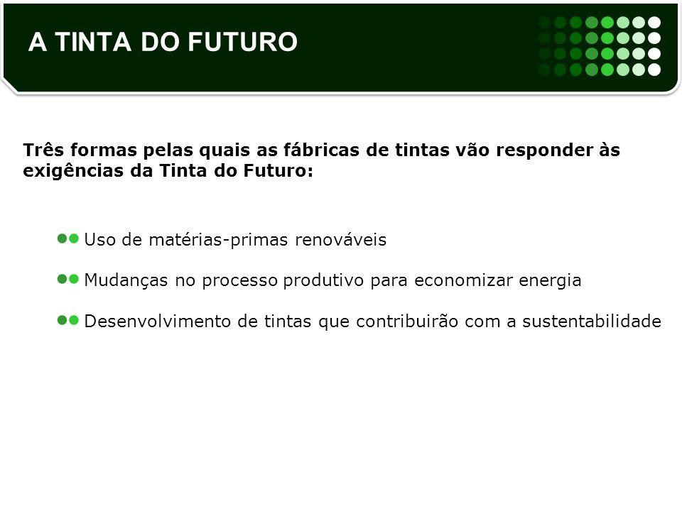 A TINTA DO FUTURO Três formas pelas quais as fábricas de tintas vão responder às exigências da Tinta do Futuro: