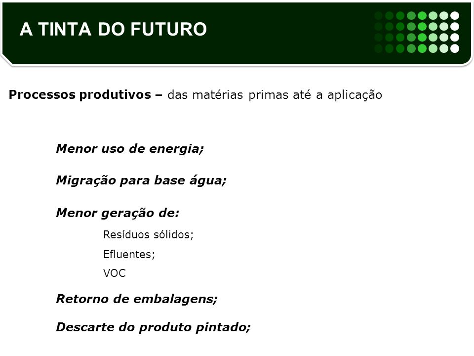 A TINTA DO FUTURO Processos produtivos – das matérias primas até a aplicação. Menor uso de energia;
