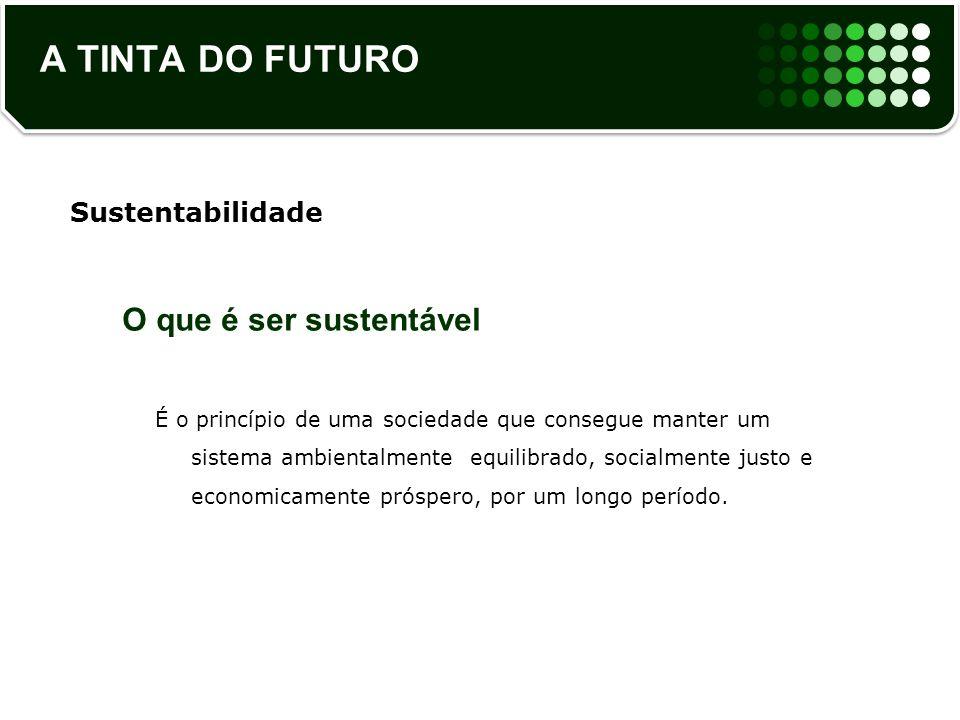 A TINTA DO FUTURO O que é ser sustentável Sustentabilidade