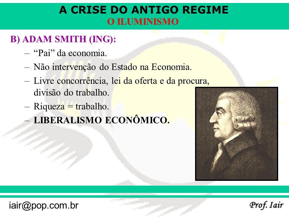 B) ADAM SMITH (ING): Pai da economia. Não intervenção do Estado na Economia. Livre concorrência, lei da oferta e da procura, divisão do trabalho.