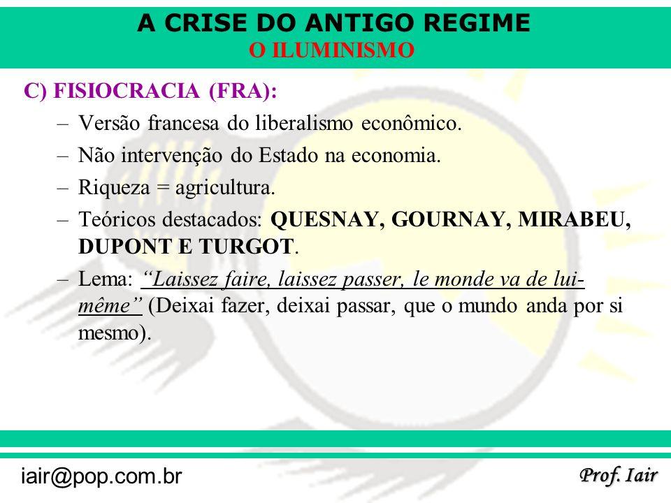 C) FISIOCRACIA (FRA): Versão francesa do liberalismo econômico. Não intervenção do Estado na economia.