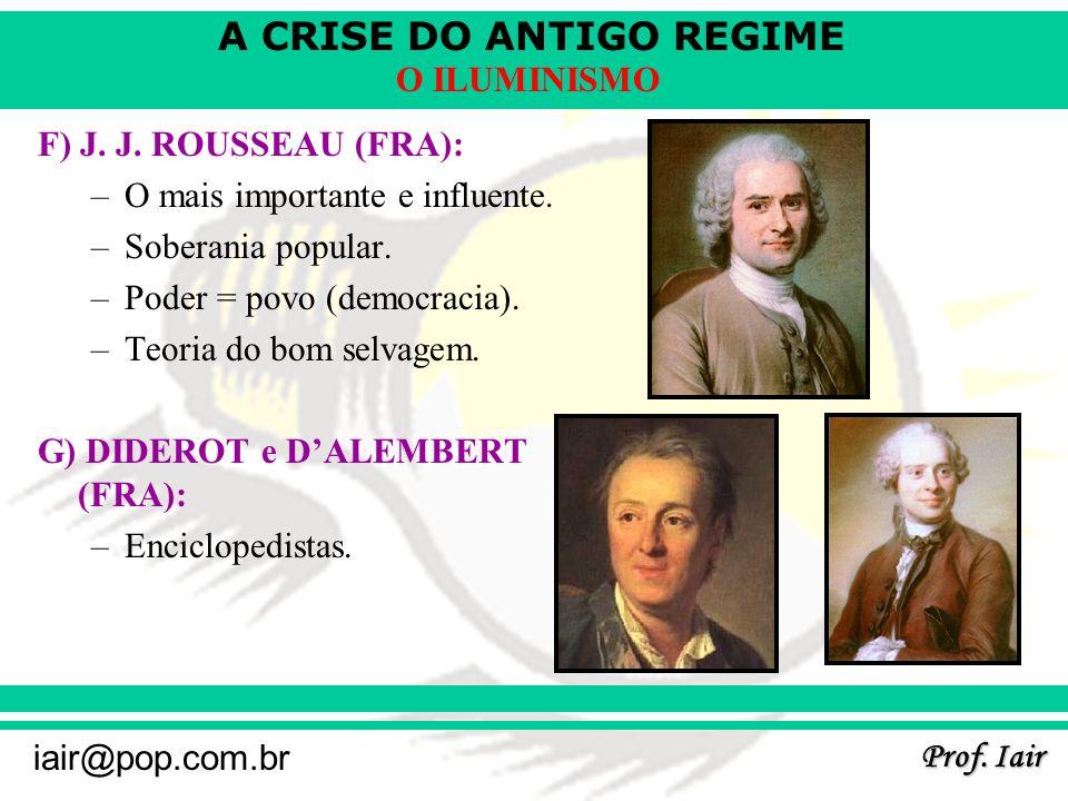 F) J. J. ROUSSEAU (FRA): O mais importante e influente. Soberania popular. Poder = povo (democracia).