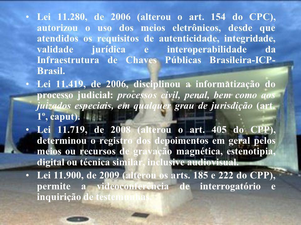 Lei 11.280, de 2006 (alterou o art. 154 do CPC), autorizou o uso dos meios eletrônicos, desde que atendidos os requisitos de autenticidade, integridade, validade jurídica e interoperabilidade da Infraestrutura de Chaves Públicas Brasileira-ICP-Brasil.