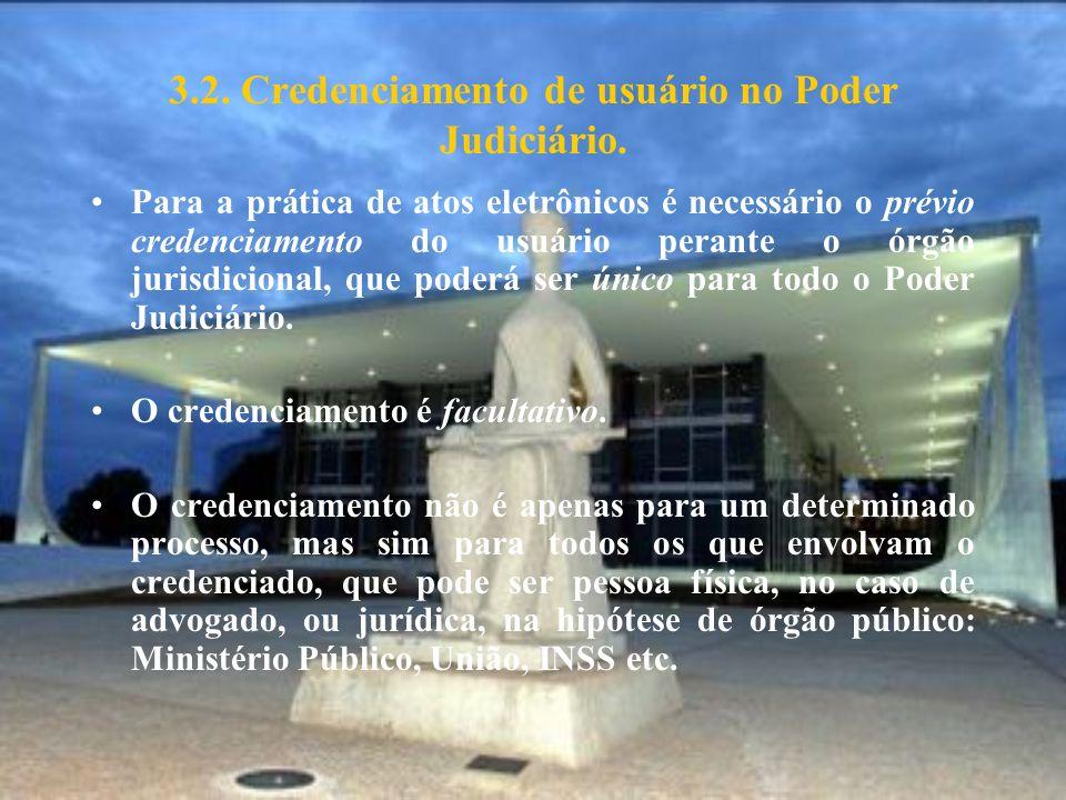 3.2. Credenciamento de usuário no Poder Judiciário.