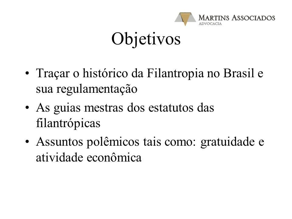 Objetivos Traçar o histórico da Filantropia no Brasil e sua regulamentação. As guias mestras dos estatutos das filantrópicas.