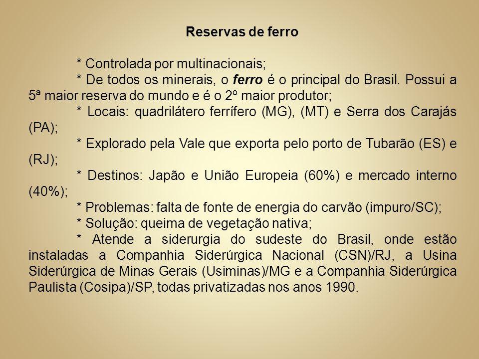 Reservas de ferro* Controlada por multinacionais;