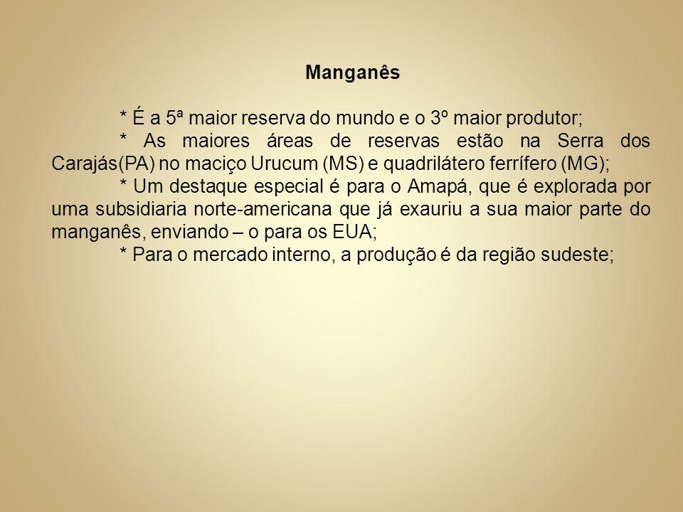 Manganês* É a 5ª maior reserva do mundo e o 3º maior produtor;