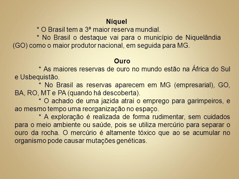 Níquel* O Brasil tem a 3ª maior reserva mundial.