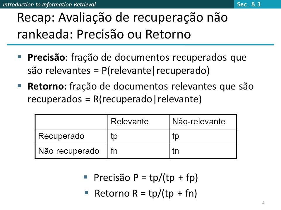 Recap: Avaliação de recuperação não rankeada: Precisão ou Retorno