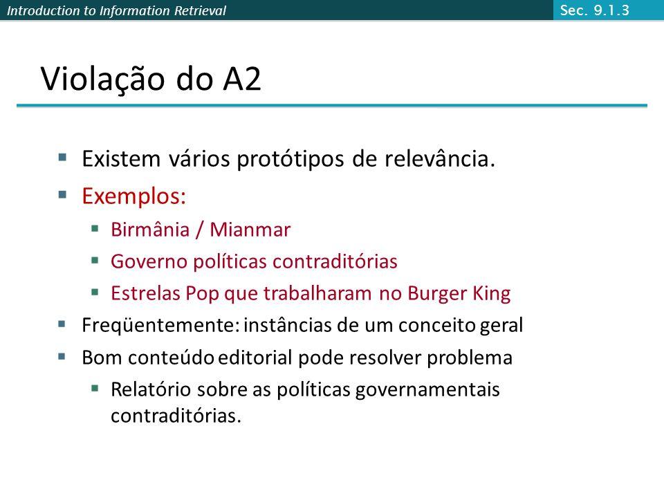 Violação do A2 Existem vários protótipos de relevância. Exemplos:
