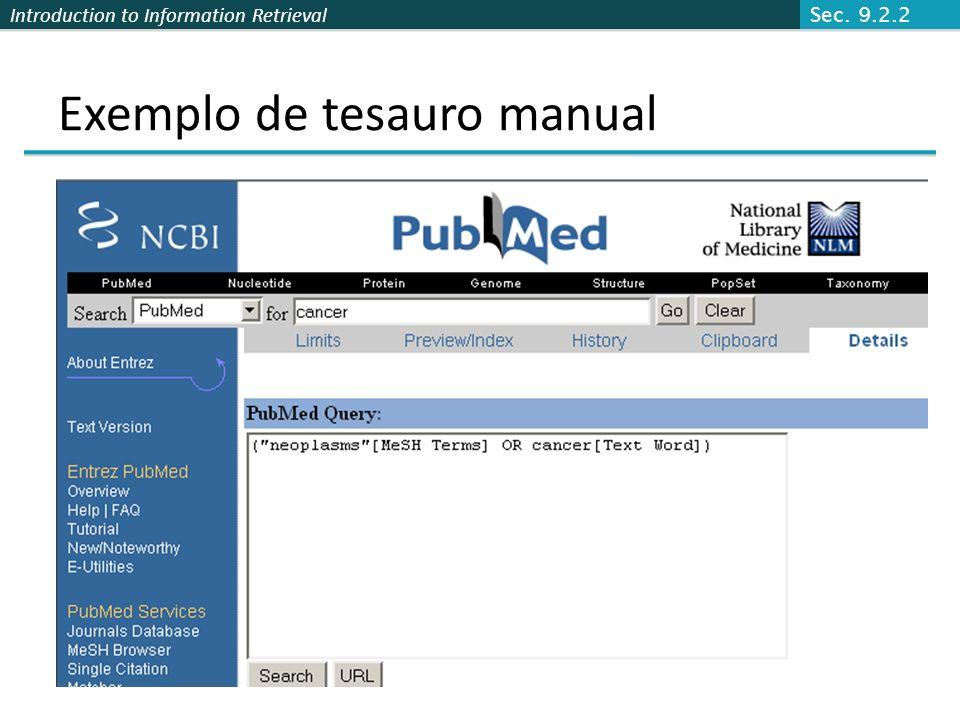 Exemplo de tesauro manual