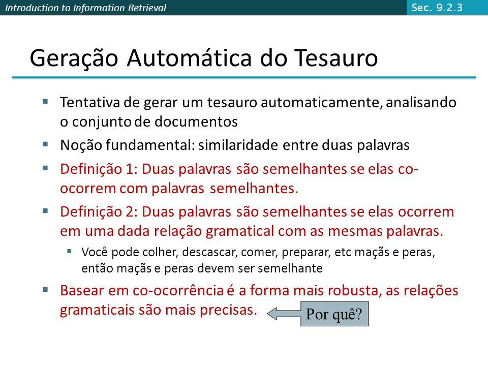 Geração Automática do Tesauro