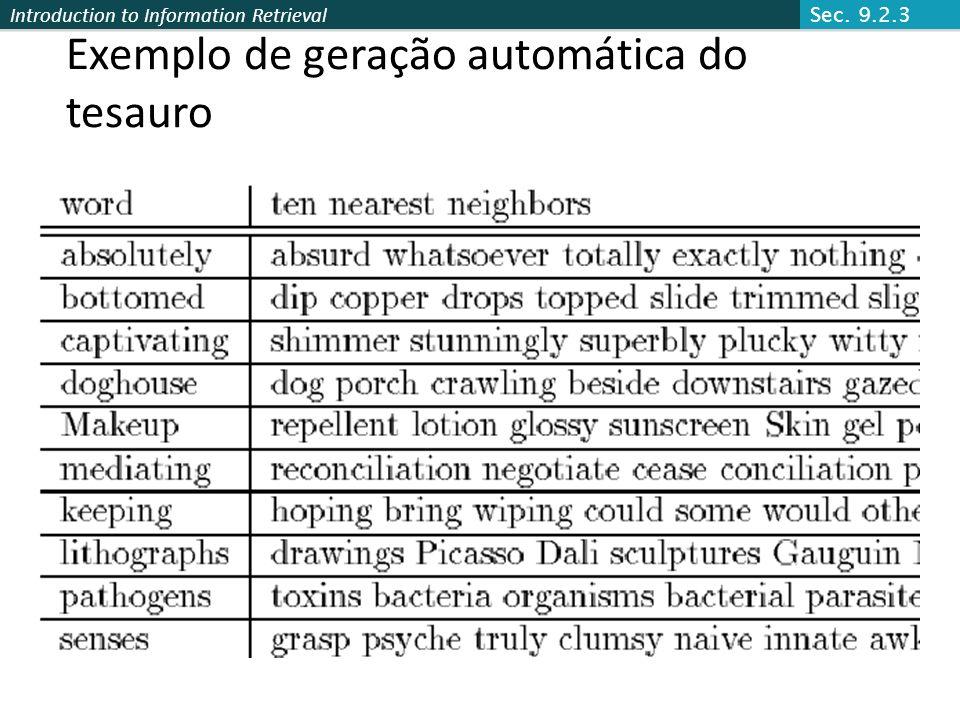 Exemplo de geração automática do tesauro