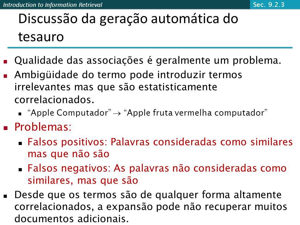 Discussão da geração automática do tesauro