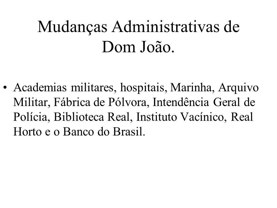 Mudanças Administrativas de Dom João.