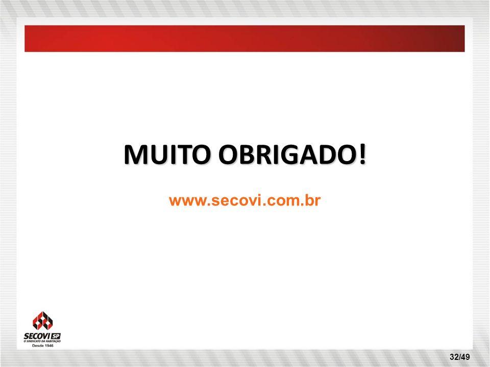 MUITO OBRIGADO! www.secovi.com.br