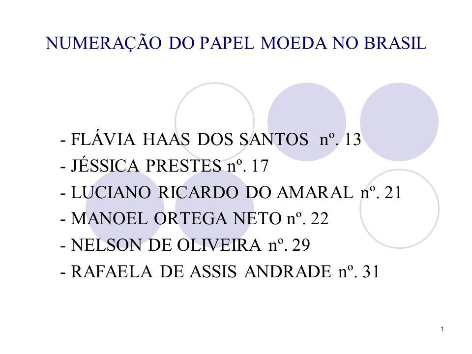 NUMERAÇÃO DO PAPEL MOEDA NO BRASIL