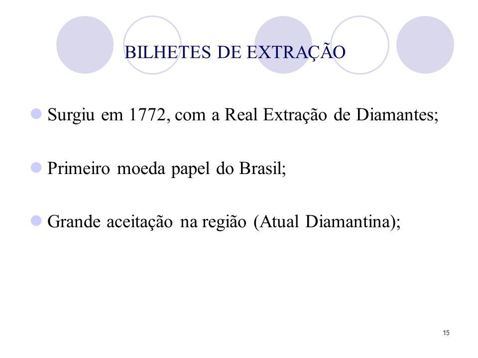 BILHETES DE EXTRAÇÃO Surgiu em 1772, com a Real Extração de Diamantes; Primeiro moeda papel do Brasil;