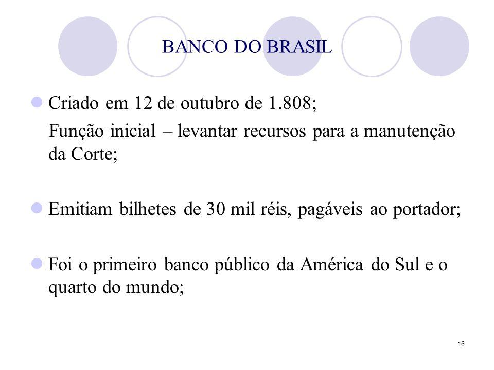 BANCO DO BRASIL Criado em 12 de outubro de 1.808; Função inicial – levantar recursos para a manutenção da Corte;