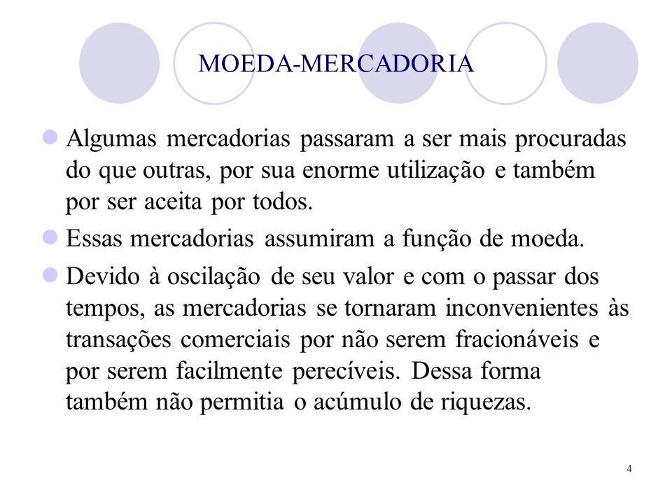 MOEDA-MERCADORIA Algumas mercadorias passaram a ser mais procuradas do que outras, por sua enorme utilização e também por ser aceita por todos.