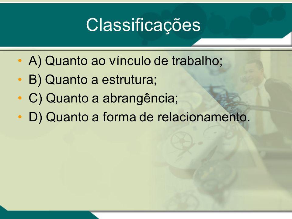 Classificações A) Quanto ao vínculo de trabalho;