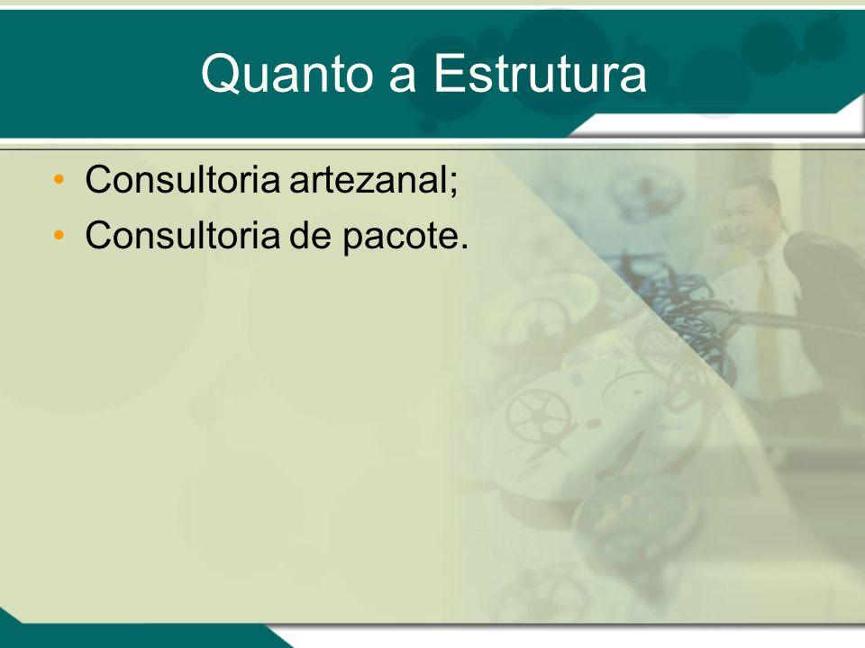 Quanto a Estrutura Consultoria artezanal; Consultoria de pacote.