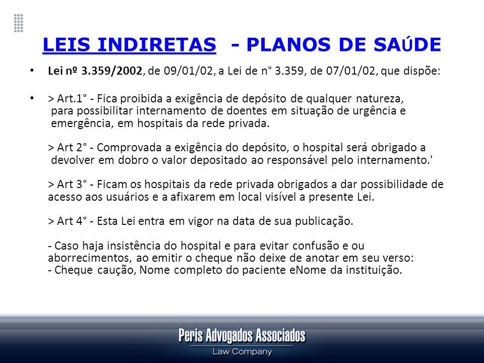 LEIS INDIRETAS - PLANOS DE SAÚDE