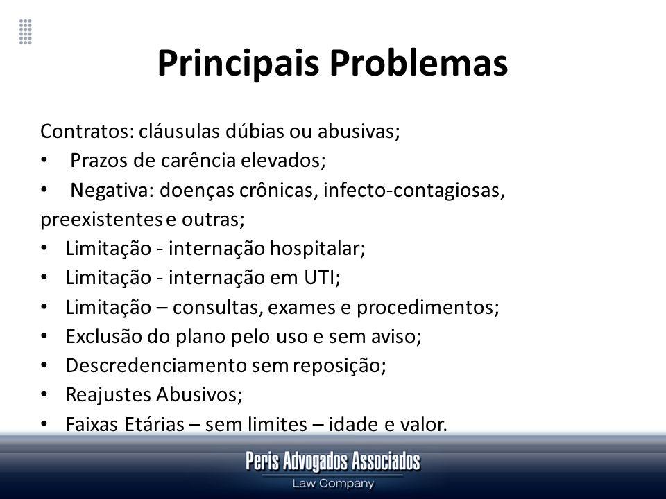 Principais Problemas Contratos: cláusulas dúbias ou abusivas;