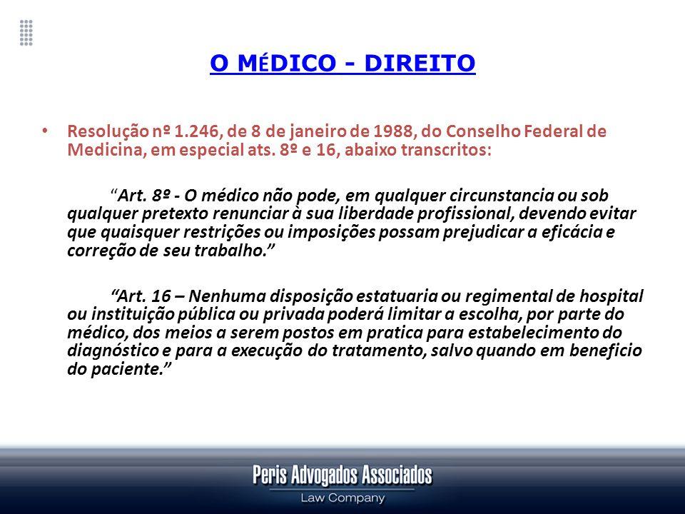 O MÉDICO - DIREITOResolução nº 1.246, de 8 de janeiro de 1988, do Conselho Federal de Medicina, em especial ats. 8º e 16, abaixo transcritos: