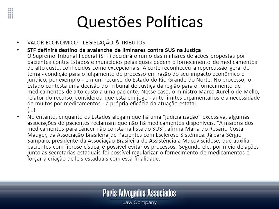 Questões Políticas VALOR ECONÔMICO - LEGISLAÇÃO & TRIBUTOS