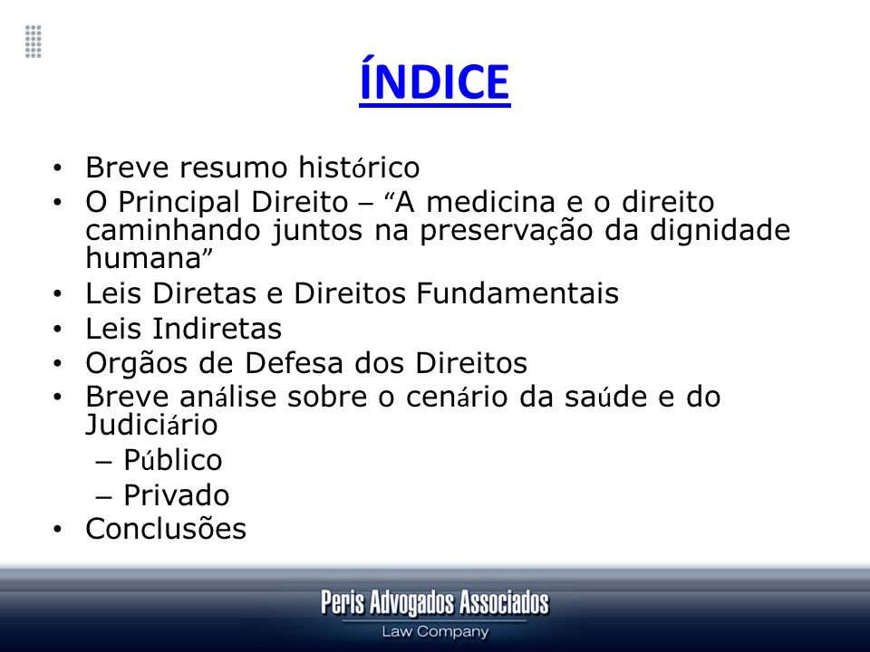 ÍNDICE Breve resumo histórico